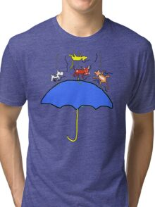 Raining Cats and DOGS (blue) T SHIRT/STICKER Tri-blend T-Shirt