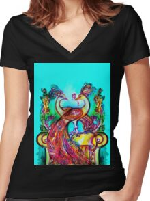 PEACOCKS IN LOVE IN BLUE TURQUOISE Women's Fitted V-Neck T-Shirt