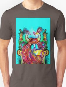 PEACOCKS IN LOVE IN BLUE TURQUOISE Unisex T-Shirt