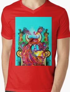 PEACOCKS IN LOVE IN BLUE TURQUOISE Mens V-Neck T-Shirt