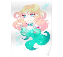 Turquoise blue Mermaid Poster