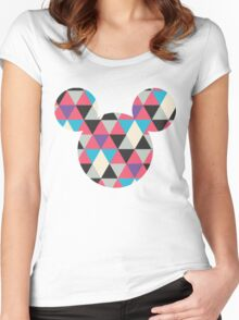 Mouse Geometric Triangle Pattern Silhouette Women's Fitted Scoop T-Shirt