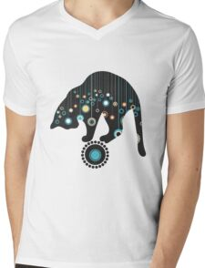 Black Magical Cat Vector Art Mens V-Neck T-Shirt