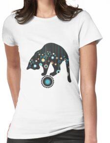Black Magical Cat Vector Art Womens Fitted T-Shirt