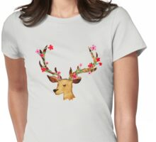 Watercolour Stag Womens Fitted T-Shirt