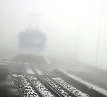 Train in the Fog by nadinecreates