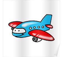 Funny blue airplane cartoon Poster