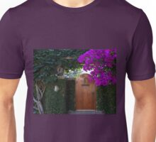 Brown Door and Purple Bougainvillea Unisex T-Shirt