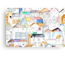 St Ives Coastal Cottages in watercolour Canvas Print
