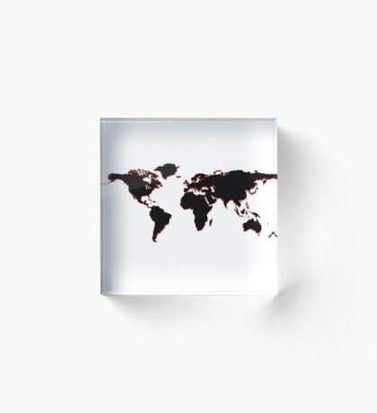 Black world map Acrylic Block