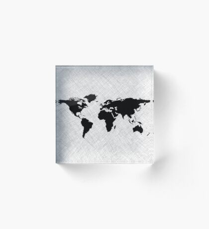 Black world map over grunge stripes Acrylic Block