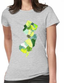 Jersey State Watercolor Womens Fitted T-Shirt