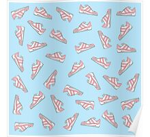 Pink and Blue Cute Sneakers Pattern Poster