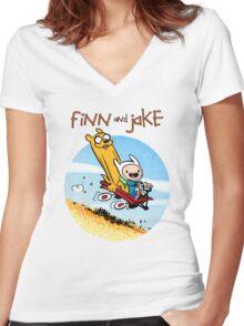 Finn and Jake Women's Fitted V-Neck T-Shirt