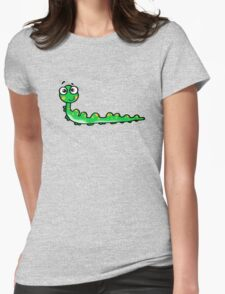 Funny green caterpillar bug Womens Fitted T-Shirt