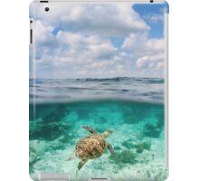 Over Under Shot, Green Sea Turtle iPad Case/Skin