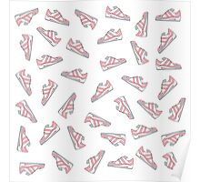 Pink and Gray Cute Sneakers Pattern Poster