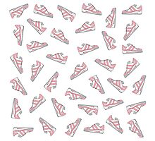 Pink and Gray Cute Sneakers Pattern Photographic Print