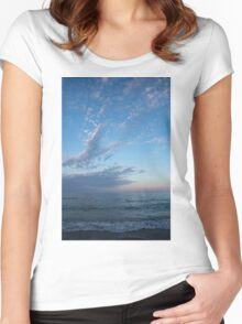 Pale Blues and Feathery Clouds in the Fading Light Women's Fitted Scoop T-Shirt