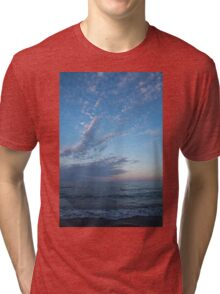 Pale Blues and Feathery Clouds in the Fading Light Tri-blend T-Shirt