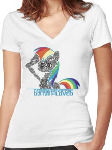 Brony Typography (white) Women's Fitted V-Neck T-Shirt