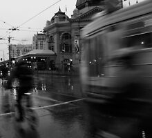 Trams and Bikes by Andrew  Makowiecki