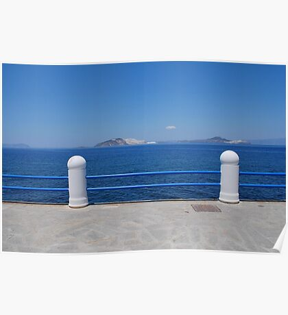 Seafront railings, Nisyros Poster