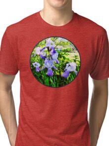 Purple Irises in Suburbs Tri-blend T-Shirt