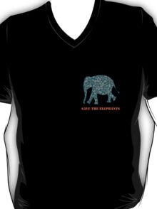 Save the Elephants Paisley Pattern T-Shirt