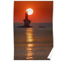 Sunrise at the lighthouse Tourlitis Poster
