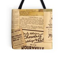 Antique Recipe Book Collage Tote Bag
