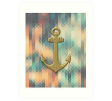 Gold Nautical Anchor Art Print