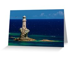 Lighthouse Tourlitis in Andros and a seagull Greeting Card
