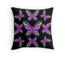 Butterfly Psychedelic Rainbow Throw Pillow