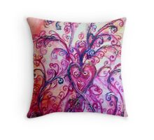 PINK HEART WITH FUCHSIA PURPLE WHIMSICAL FLOURISHES  Throw Pillow