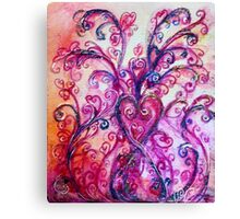 FUCHSIA PURPLE PINK HEART WITH WHIMSICAL FLOURISHES  Canvas Print