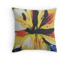 Colourful abstract yellow lily floral art  Throw Pillow