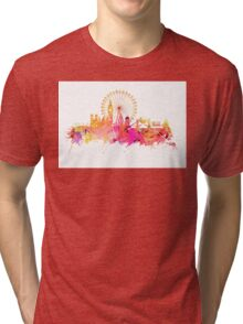London skyline map city pink Tri-blend T-Shirt