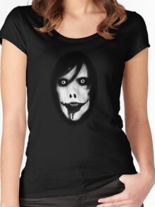 Jeff the Killer - Black and White Women's Fitted Scoop T-Shirt