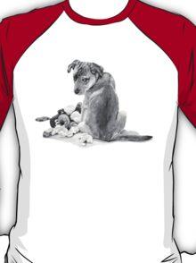 Cute puppy with torn teddy dog realist art  T-Shirt