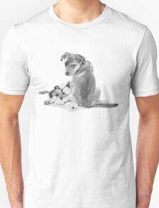 Cute puppy with torn teddy dog realist art  Unisex T-Shirt