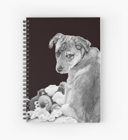 Cute puppy with torn teddy dog realist art  Spiral Notebook