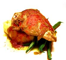 Panfried chicken breast on herb mash, green beans and roasted capsicum coulis by Nino Ulaan