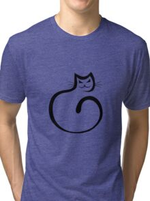 Whimsical Black Cat Vector Illustration Tri-blend T-Shirt