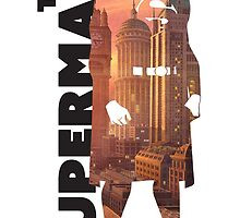 Superman Cityscape Art Decal by GekiDesign