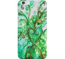 GREEN HEART WITH  WHIMSICAL FLOURISHES iPhone Case/Skin