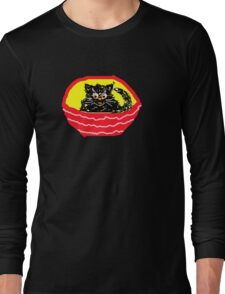 KITTY IN A BASKET BLACK T SHIRT/STICKER Long Sleeve T-Shirt