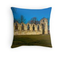 Ruins of St Mary's Abbey  -  York Throw Pillow