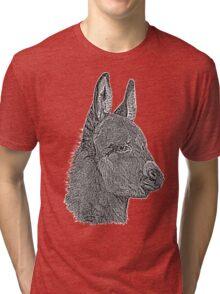 Cute donkey pencil drawing monochrome realist art  Tri-blend T-Shirt