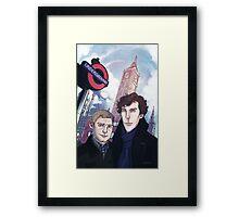 Sherlock and John in London Framed Print